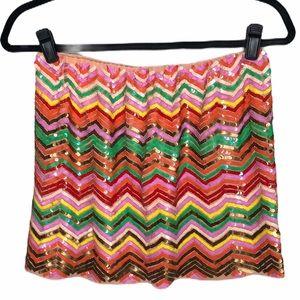 Hazel sequined zig zag pattern mini skirt